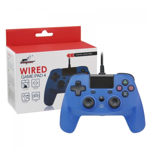PS4/PS3/PC Wired Controller with Sensor Function Blue Color